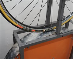 Challenge Strada Pro road bike tire on a rolling resistance test machine