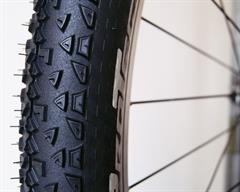 Continental Race King Protection  mountain bike tire on a rolling resistance test machine