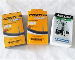 Continental Light and Standard and a Michelin latex road bike inner tube