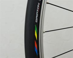 Specialized S-Works Turbo road bike tire on a rolling resistance test machine