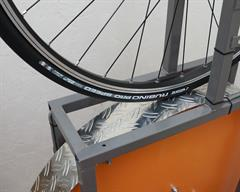 Vittoria Rubino Pro Speed road bike tire on a rolling resistance test machine